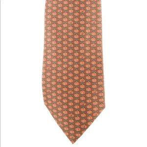 Hermès Brown and Orange Pumpkin Silk Tie